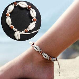 Cowrie Shell Anklet Bracelet Puka Seashell Beaded Jewelry Surfer Beach Nautical