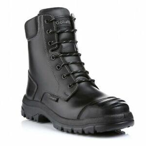 Goliath Black S3 Water Resistant Side Zip Safety Steel Toe Cap Combat Work Boots