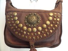5927af1138e2 Patricia Nash Brown Leather Brass Studded Flap Camilla Crossbody   Shoulder  Bag