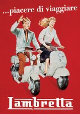 "Reproduction Vintage Italian ""Lambretta"" Poster, Home Wall Art, Size A2"