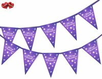 Snowflake Purple Stars Merry Christmas Bunting Banner 15 flags by PARTY DECOR