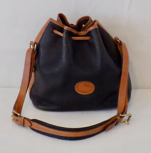 Dooney & Bourke Purse Handbag Bucket Bag Black Brown Pebbled Leather Vintage