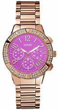 Guess U0141L7 Women's Rose Gold Tone Swarovski Pink Dial Chronograph Watch