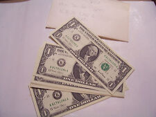 CONSECUTIVE SERIAL NUMBERS 2001 14 ONE $1 DOLLAR FEDERAL RESERVE NOTES K81781282