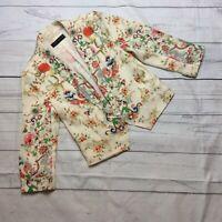 Zara Woman Open Front Floral Blazer Size L Large Cream Multi Floral