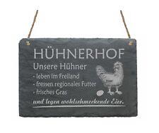 Schiefertafel Schieferschild Hühnerhof Hühner Hühnereier Türschild Dekoschild ✔️