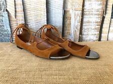 $650 Authentic JIMMY CHOO Tan Suede Lace Up Vernie Sandals SZ 39.5 Womens Silver