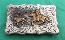 Vintage Genuine STERLING SILVER Western Frontier CALF ROPING Cowboy BELT BUCKLE