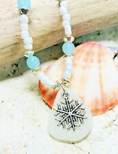 """Woman's Frosty WHITE SEA GLASS & Snowflake Beaded Pendant Necklace! 18"""" JEWELRY"""