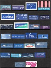 SELECTION OF AIR MAIL LABELS/VIGNETTES.