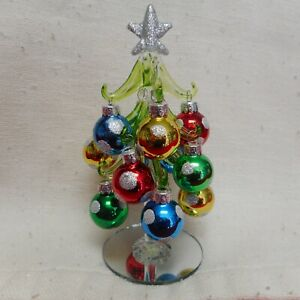 """NEW Silver Star 6"""" Glass Christmas Tree with Multi-Color Ornaments from Ganz"""