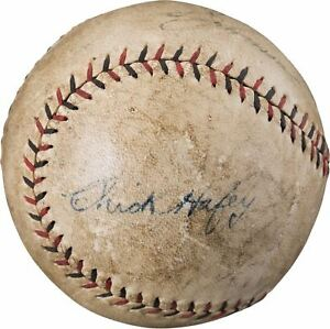 Chick Hafey Signed Autographed 1929 St. Louis Cardinals Game Used Baseball PSA
