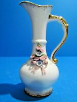 Lefton China White Porcelain Bud Vase Pitcher With Pink Roses - Hand-painted