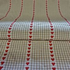 Cream Cotton Dobby Fabric With Heart Pattern - 2 Colours (Per Metre)