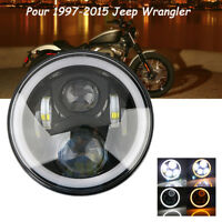 7'' 60W Moto Phare Projecteur LED Headlight Lamp Halo Angel Pour Jeep Harley