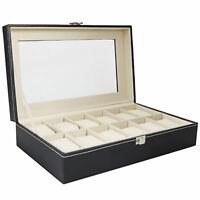 12 Slots Watch Box Leather Display Case Organizer Top Glass Jewelry Storage DEN