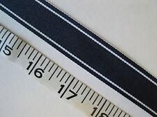 """A2024  RIBBON Grosgrain Navy Blue White Stripe 7/8"""" W 6 Yds"""