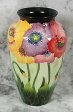 J McCall Poppy Pansy Flower Vase 2004 Icing on the Cake Collection Blue Sky 12""