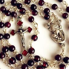 Silver Wire Wrap Garnet Gemstone Beads Catholic ROSARY Crucifix NECKLACE BOX