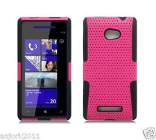 HTC Windows Phone 8X 6990 Hybrid Case Skin Cover Accessory Hot Pink Black