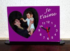 Horloge de bureau personnalisée 1 coeur photo sur fond couleur mauve avec texte