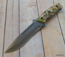11.75 INCH CAMO TACTICAL FIXED BLADE HUNTING KNIFE FULL TANG WITH NYLON SHEATH