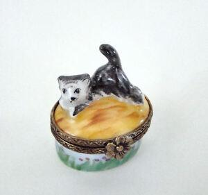 Limoges Box - Mini Black and White Kitty Cat