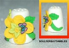 BOULDER BAY- Hand crafted FIMO Thimble - #107 YELLOW FLOWER and BUTTERFLY
