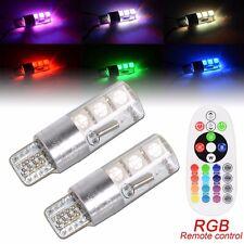 2pcs T10 5050 6SMD RGB LED Car Interior Reading Light Lamp Bulb+Remote Hot