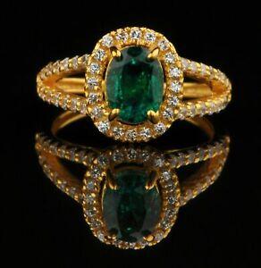 1.50 Carat Natural Zambian Green Emerald And Diamonds Ring 14k Yellow Gold