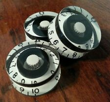 3 Guitar speed volume / tone knobs.. Black / White. JAT CUSTOM GUITAR PARTS