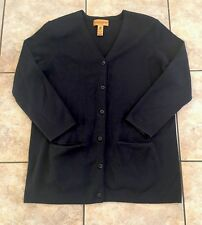 Classiques Entier Petites 100% New Wool Black Women's Cardigan Sweater Sz L