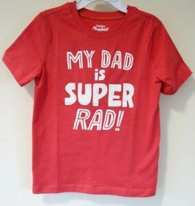 Brand New OshKosh Red My Dad Is Super Rad Shirt Boy's Size 5/5T
