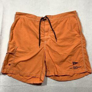 Polo Ralph Lauren Swim Trunks Men's 2XL 38 Orange Drawstring Cargo Pockets Nylon