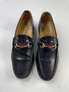 Vintage GUCCI Blue Leather Stripe Horse Bit Loafer slip on Shoes Men's 43/ 9.5