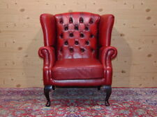 Chesterfield Queen Anne armchair, original English Vintage in red leather.