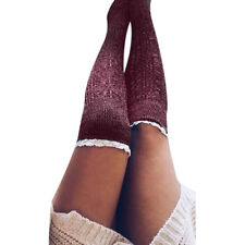 Women Ladies Over The Knee Lace Cotton Thigh High Knit Crochet Socks Leggings