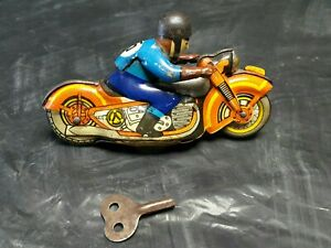 VINTAGE MOTORCYCLE BIKER 60's TIN TOY WIND UP USSR CCCP SOVIET RUSSIA ORIG.KEY
