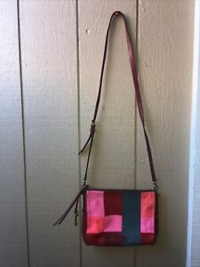 Fossil Patchwork Shoulder Crossbody  Messenger Leather Pink Pre-Owned