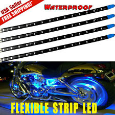 "Blue 4pcs 12""/30CM 15 LED Car Motors Truck Flexible Strip Light Waterproof 12V"