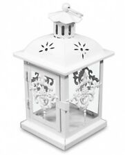 Matt White 24 cm Metal Lantern Candle Tealight Holder Home Decor Gift