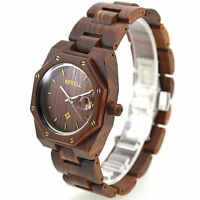 Swiss Movement Natural Octagon Dial Maple Red Sandalwood Wooden Men Wood WATCHES