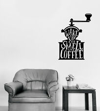 Wall Vinyl Decal Words on Coffee Grinder Quotes About Coffee Home Decor n1127