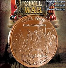 "Civil War ""Battle of Shiloh"" 1oz .999 Copper Round Civil War Collection"