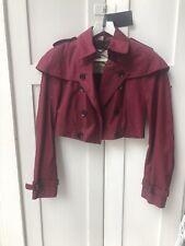 Burberry Women Cropped Coat Jacket Dark Red UK 6 New