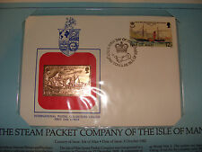 Isle of Man  FDC w/ 23 kt gold replica Stamp 1982 Steam Packet Company