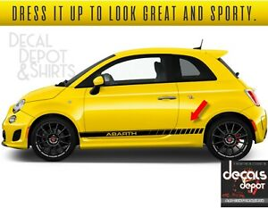CAR DECALS GRAPHICS ABARTH FIAT 500 SIDE STRIPES STICKERS PAIR