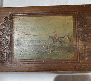 Antique wooden trinket box oblong; carved pine trees fox hunt image AS IS