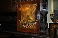 Lovely Old Americana Flag and Eagle Painting on Cutting Board Beautiful Oil