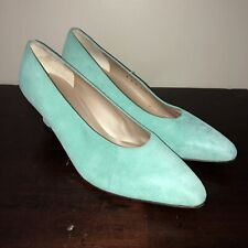 St John High Heel Pump Shoes Made In Italy Leather Closed Toe Gold Mint Size 9.5